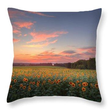 Sunflower Sunset Throw Pillow by Bill Wakeley