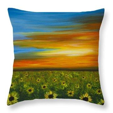 Sunflower Sunset - Flower Art By Sharon Cummings Throw Pillow by Sharon Cummings