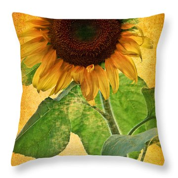 Sunny Sunflower Throw Pillow by Carol F Austin