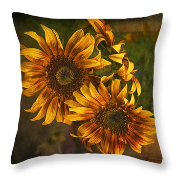 Throw Pillow featuring the photograph Sunflower Trio by Priscilla Burgers