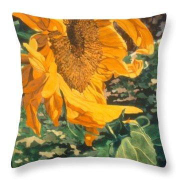 Sunflower Watercolor Painting Beautiful Flowers Sun Flower Garden Art Floral Artist K. Joann Russell Throw Pillow