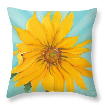 Sunflower With Bee Throw Pillow by Bettina Star-Rose