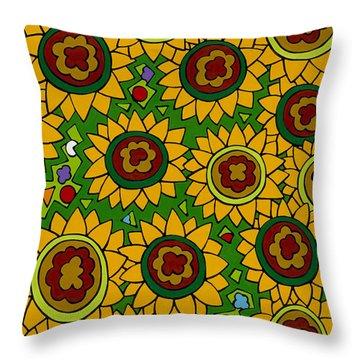 Sunflowers 2 Throw Pillow by Rojax Art