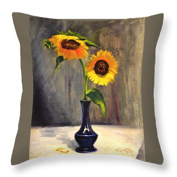 Sunflowers - Adoration Throw Pillow