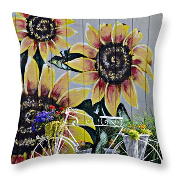 Sunflowers And Bicycle Throw Pillow by Kenny Francis