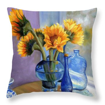 Sunflowers And Blue Bottles Throw Pillow