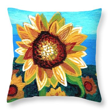 Sunflowers And Blue Sky Throw Pillow by Genevieve Esson
