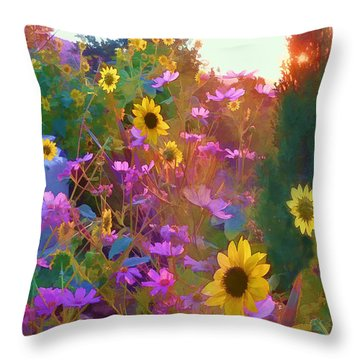 Sunflowers And Cosmos Throw Pillow