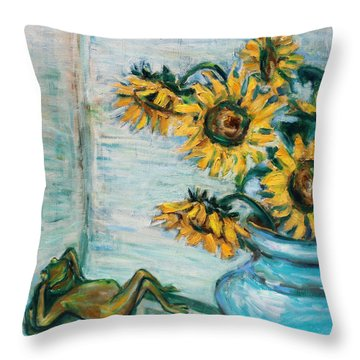 Sunflowers And Frog Throw Pillow by Xueling Zou