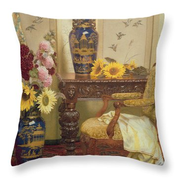Sunflowers And Hollyhocks Throw Pillow by Kate Hayllar