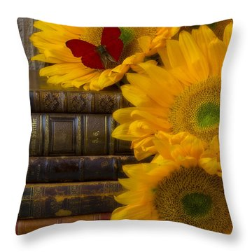 Sunflowers And Old Books Throw Pillow by Garry Gay