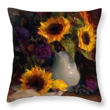 Sunflowers And Porcelain Still Life Throw Pillow