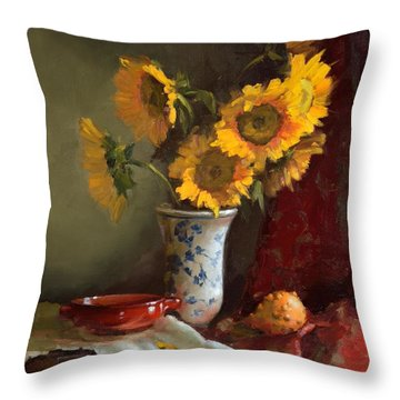 Sunflowers And Red Saucer Throw Pillow