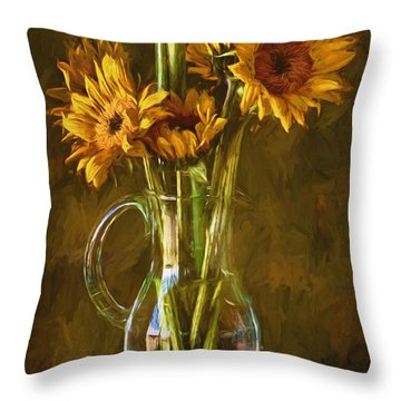 Throw Pillow featuring the photograph Sunflowers And Vase by John Rivera