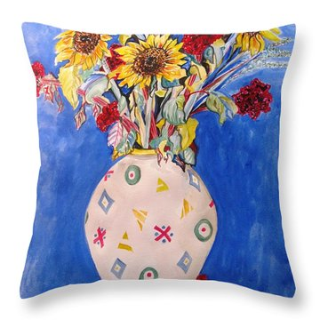 Sunflowers At Home Throw Pillow by Esther Newman-Cohen