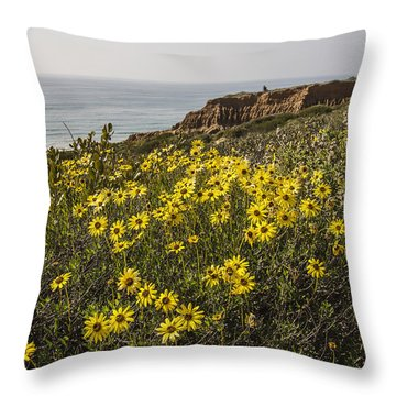 Throw Pillow featuring the photograph Sunflowers At Yucca Point by Lee Kirchhevel