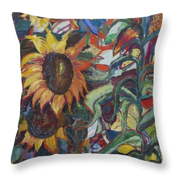 Sunflowers Throw Pillow by Avonelle Kelsey