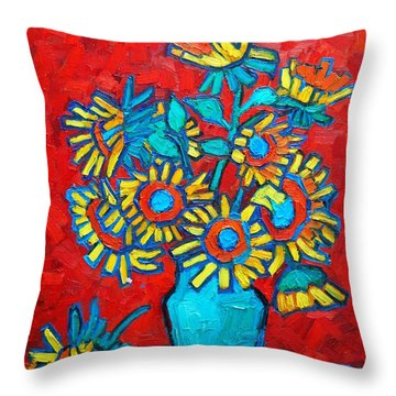 Sunflowers Bouquet Throw Pillow by Ana Maria Edulescu