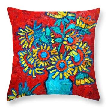 Sunflowers Bouquet Throw Pillow