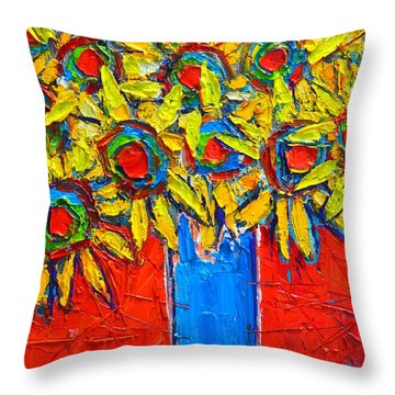 Sunflowers Bouquet In Blue Vase Throw Pillow by Ana Maria Edulescu