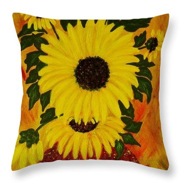 Sunflowers Throw Pillow by Celeste Manning
