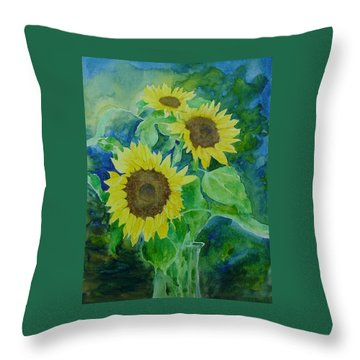 Sunflowers Colorful Sunflower Art Of Original Watercolor Throw Pillow