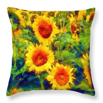 Sunflowers Dance In A Field Throw Pillow