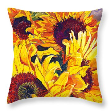 Sunflowers Throw Pillow by David Randall
