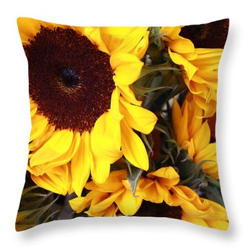 Throw Pillow featuring the photograph Sunflowers by Dora Sofia Caputo Photographic Art and Design