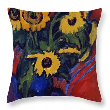 Sunflowers Throw Pillow by Ernst Ludwig Kirchner