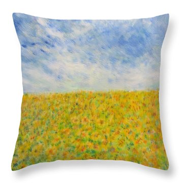 Sunflowers  Field In Texas Throw Pillow