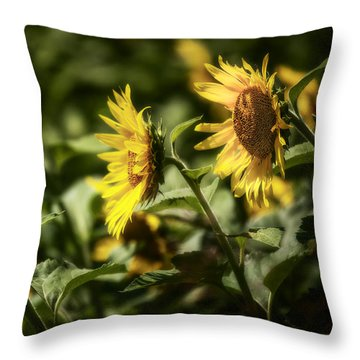Throw Pillow featuring the photograph Sunflowers In The Wind by Steven Sparks