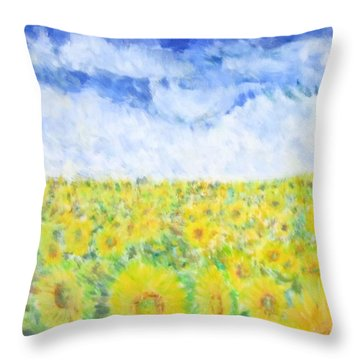 Sunflowers In A Field In  Texas Throw Pillow
