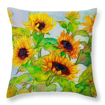 Sunflowers In A Field Throw Pillow