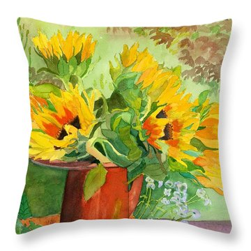 Sunflowers In Copper Throw Pillow by Lynne Reichhart
