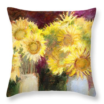 Sunflowers In Jars Throw Pillow