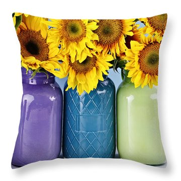 Sunflowers In Painted Mason Jars Throw Pillow