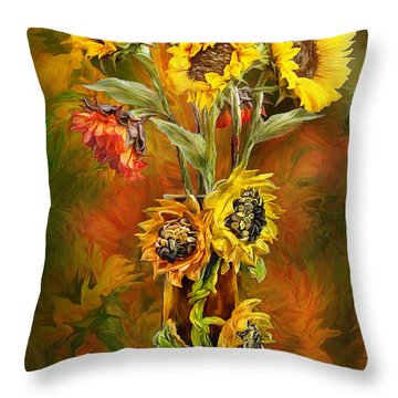 Sunflowers In Sunflower Vase Throw Pillow