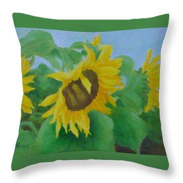 Sunflowers In The Wind Colorful Original Sunflower Art Oil Painting Artist K Joann Russell           Throw Pillow