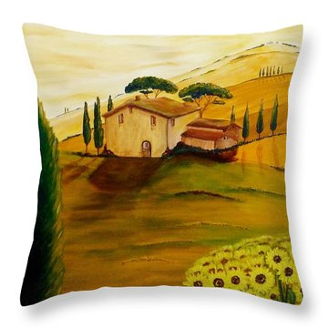 Sunflowers In Tuscany Throw Pillow by Christine Huwer