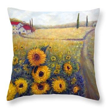 Sunflowers Throw Pillow by Loretta Luglio