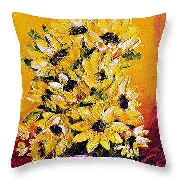 Sunflowers  No.3 Throw Pillow by Teresa Wegrzyn