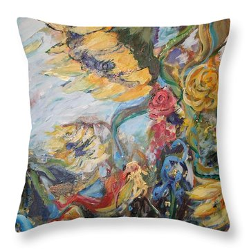 Sunflowers On A Windy Day Throw Pillow by Avonelle Kelsey