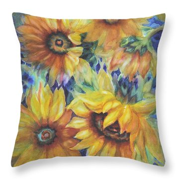 Sunflowers On Blue I Throw Pillow
