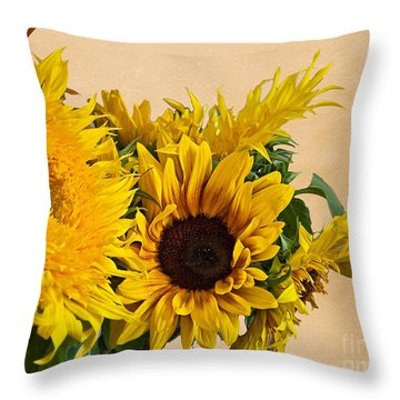 Sunflowers On Old Paper Background Art Prints Throw Pillow