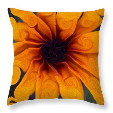 Throw Pillow featuring the painting Sunflowers On Psychadelics by Omaste Witkowski
