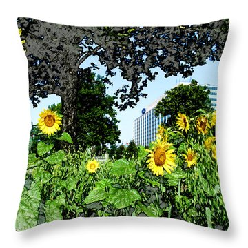 Sunflowers Outside Ford Motor Company Headquarters In Dearborn Michigan Throw Pillow