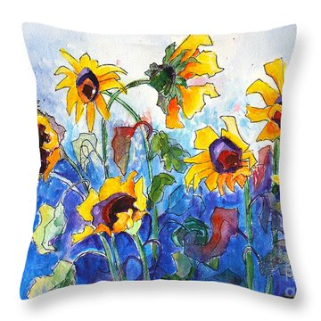 Throw Pillow featuring the painting Sunflowers by Priti Lathia