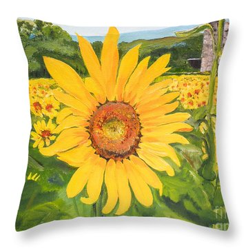 Sunflowers - Red Barn - Pennsylvania Throw Pillow