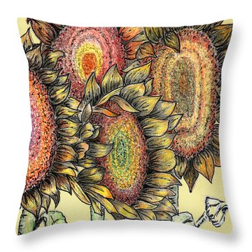 Sunflowers Revisited Throw Pillow